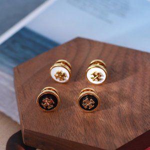 Tory Burch Enamel Logo Gold Round Earrings